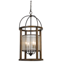 Lantern 4 Light 16 inch Dark Bronze Chandelier Ceiling Light