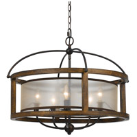 Round 5 Light 26 inch Dark Bronze Chandelier Ceiling Light