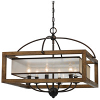 Cal Lighting FX-3536/6 Square 6 Light 24 inch Dark Bronze Chandelier Ceiling Light