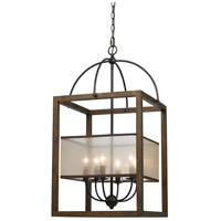 Cal Lighting FX-3536/6L Rectangular 6 Light 19 inch Dark Bronze Chandelier Ceiling Light