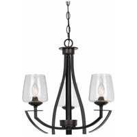 Signature 3 Light 20 inch Organic Black Chandelier Ceiling Light
