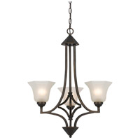 Signature 3 Light 24 inch Dark Bronze Chandelier Ceiling Light