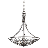 Varano 3 Light 22 inch Iron Rust Chandelier Ceiling Light