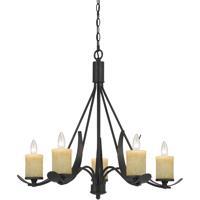 Cal Lighting FX-3561/5 Morelis 5 Light 28 inch Black Smith Chandelier Ceiling Light