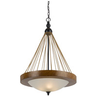 Cal Lighting FX-3563/1P Monticello 3 Light 21 inch Metal and Wood Pendant Ceiling Light photo thumbnail