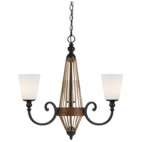 Monticello 3 Light 23 inch Metal and Wood Chandelier Ceiling Light