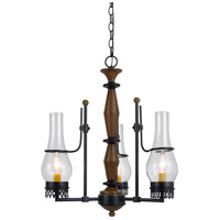 Cal Lighting FX-3564/3 Trenton 3 Light 21 inch Metal and Wood Chandelier Ceiling Light