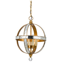 Signature 4 Light 13 inch French Gold and Mirror Pendant Ceiling Light