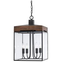 Cal Lighting FX-3581-4 Antonio 4 Light 14 inch Black and Wood Chandelier Ceiling Light