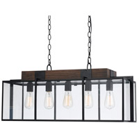 Antonio 5 Light 32 inch Black and Wood Chandelier Ceiling Light
