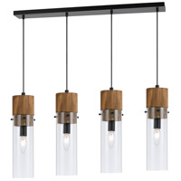 Cal Lighting FX-3583-4 Spheroid 4 Light 40 inch Black and Wood Island Chandelier Ceiling Light