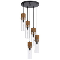Spheroid 5 Light 15 inch Black and Wood Pendant Ceiling Light