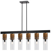 Cal Lighting FX-3583-6 Spheroid 6 Light 43 inch Black and Wood Island Chandelier Ceiling Light