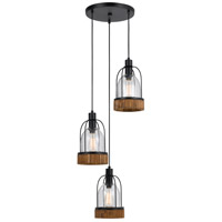 Beacon 3 Light 15 inch Black and Wood Pendant Ceiling Light
