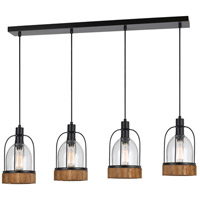 Beacon 4 Light 40 inch Black and Wood Island Chandelier Ceiling Light
