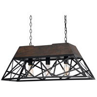 Antonio 3 Light 32 inch Black and Wood Chandelier Ceiling Light