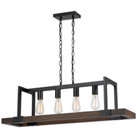 Cal Lighting FX-3586-4 Antonio 4 Light 38 inch Wood and Black Chandelier Ceiling Light