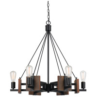 Cal Lighting FX-3587-6 Carrizo 6 Light 30 inch Wood and Black Chandelier Ceiling Light