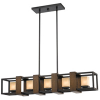 Signature 5 Light 37 inch Wood and Dark Bronze Island Chandelier Ceiling Light