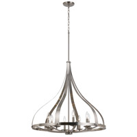 Cal Lighting FX-3589-8 Meridian 8 Light 29 inch Brushed Steel Chandelier Ceiling Light