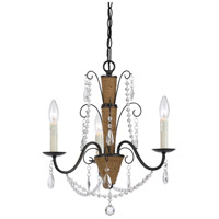 Antigo 3 Light 18 inch Antigo Rattan and Crystal Chandelier Ceiling Light