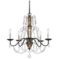 Antigo 5 Light 26 inch Antigo Rattan and Crystal Chandelier Ceiling Light
