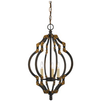 Cal Lighting FX-3593-3 Howell 3 Light 13 inch Iron and Antique Gold Pendant Ceiling Light