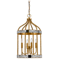 Glenwood 4 Light 13 inch French Gold and Antique Mirror Pendant Ceiling Light