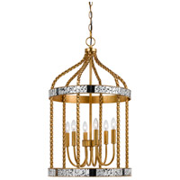 Cal Lighting FX-3599-6 Glenwood 6 Light 16 inch French Gold and Antique Mirror Pendant Ceiling Light