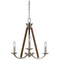 Monica 3 Light 20 inch Brushed Steel and Wood Chandelier Ceiling Light