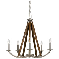 Monica 5 Light 27 inch Brushed Steel and Wood Chandelier Ceiling Light