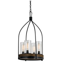 Cal Lighting FX-3614-4 Chardon 4 Light 15 inch Iron Wood Chandelier Ceiling Light