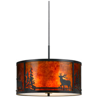 Cal Lighting FX-3616-1P Deer 3 Light 18 inch Dark Bronze Chandelier Ceiling Light