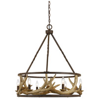 Cal Lighting FX-3618-6 Antler 6 Light 26 inch Rust Chandelier Ceiling Light