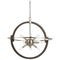 Cicero 9 Light 26 inch Brushed Steel and Wood Pendant Ceiling Light