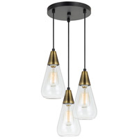 Ellyn 3 Light 12 inch Antique Brass and Black Pendant Ceiling Light