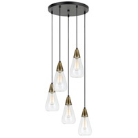 Ellyn 5 Light 15 inch Antique Brass and Black Pendant Ceiling Light