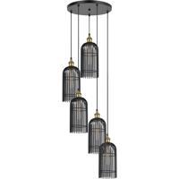 Cal Lighting FX-3626-5P Birdcage 5 Light 20 inch Black Iron Pendant Ceiling Light
