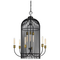 Cal Lighting FX-3626-9 Birdcage 9 Light 26 inch Dark Bronze and Antique Brass Chandelier Ceiling Light