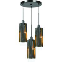 Cal Lighting FX-3641-3 Reggio 3 Light 6 inch Wood and Black Chandelier Ceiling Light