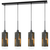 Cal Lighting FX-3641-4 Reggio 4 Light 6 inch Wood and Black Chandelier Ceiling Light photo thumbnail