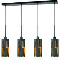 Cal Lighting FX-3641-4 Reggio 4 Light 6 inch Wood and Black Chandelier Ceiling Light