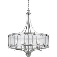 Cal Lighting FX-3646-6 Vincenza 6 Light 26 inch Brushed Steel Chandelier Ceiling Light