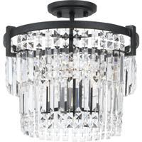 Cal Lighting FX-3647-3 Murdo 3 Light 15 inch Black Chandelier Ceiling Light Dual Function
