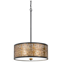 Cal Lighting FX-3649-4 Tyndall 4 Light 22 inch Antique Gold Chandelier Ceiling Light Dual Function