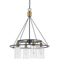Cal Lighting FX-3653-4 Rexburg 4 Light 24 inch Antique Brass and Black Chandelier Ceiling Light