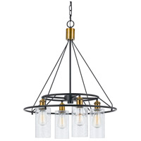 Cal Lighting FX-3653-4 Rexburg 4 Light 24 inch Antique Brass and Black Chandelier Ceiling Light photo thumbnail
