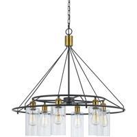 Cal Lighting FX-3653-6 Rexburg 6 Light 32 inch Antique Brass and Black Chandelier Ceiling Light