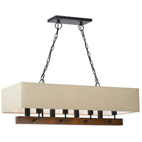 Cal Lighting FX-3654-8 Burley 8 Light 36 inch Wood and Black Chandelier Ceiling Light