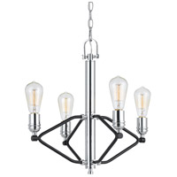 Cal Lighting FX-3655-4 George 4 Light 19 inch Chrome and Black Chandelier Ceiling Light